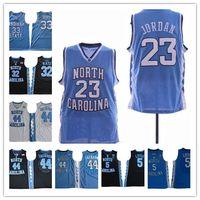basketbol mayo mavi beyaz toptan satış-Erkek NCAA 23 Michael Kuzey Carolina Tar Topuklu kolej Forması Basketbol Formaları Dikişli açık mavi beyaz jersey