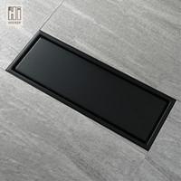 Wholesale anti painting resale online - X11 Cm Anti Odor Black Paint Stainless Steel Linear Floor Drain Bathroom Tile Insert Shower Floor Drain Factory Direct