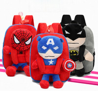 Wholesale plush heart doll resale online - 3D The Avengers Plush Backpacks Toys for kids New Ironman Superman Spiderman doll plush schoolbag mochila kids bags