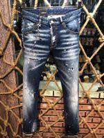 pantalones vaqueros rotos largo pantalón al por mayor-Marca Rock Biker Jeans Hombres Ripped Denim Tearing Jean Pantalones Hip Hop Motocicleta Hombres Jeans rectos largos Pantalones acanalados D2 Jeans # 0850