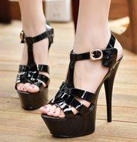 ботинки для обуви на высоком каблуке оптовых- Designer Women's Ultra-High Heels Sandals Sexy Open Toe Japanned Leather Platform Sandals Party Wedding Shoes Summer