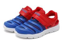 красная удобная обувь оптовых-Джефф Sneaker дети красный синий мода Повседневная обувь Удобная сетка верхний легкий вес