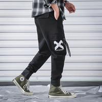 ingrosso pantaloni neri di cargo hiphop-Pantaloni cargo da uomo vintage Pantaloni da uomo Hiphop neri Pantaloni da jogging Pantaloni da lavoro maschili coreani di moda 2019 primavera Autunno Tute