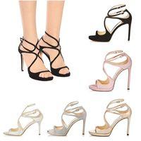sandalen mädchen moden großhandel-Frauen Designer Sandalen Open Toe So Kate Styles Mode Mädchen High Heels 10CM 12CM LANCE schwarz rosa weiß Silber Leder Größe 35-42