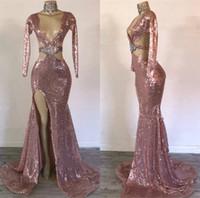 vestido beige rosa al por mayor-2019 Vestidos de noche de oro rosa Lentejuelas con cuello en V profundo Lado de cristal Dividir la sirena sexy Vestido de fiesta Vestir Imágenes reales Vestidos para ocasiones formales