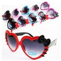 çocuklar kalp güneş gözlüğü toptan satış-Çocuklar Kalp gözlükleri Şeklinde Karikatür Çocuk Gözlük Güzel ilmek Shades Moda Tam fFrame Sevimli Kız Gözlükler TTA-1044