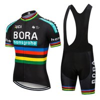Wholesale team cycling jersey bibs resale online - 2019 BORA team New Cycling Short Sleeves jersey bib shorts sets riding bike Summer breathable wear clothing ropa ciclismo D gel pad