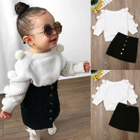 neugeborene gestrickt großhandel-US Neugeborenes Baby Kind Mädchen 1T-6T Warme Outfits Sets Hairball Knit Tops + Button Mini