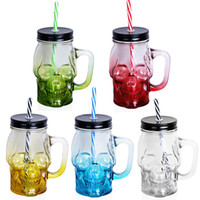 Wholesale skull glasses drink for sale - Group buy 1Pcs Skull Mason Jar ML Creative Design Glass Beer Mug With A Straw And Lid As Home Bar Party Decoration For Drinking ePacket
