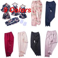 pantalones de satén de seda al por mayor-2019 nuevas mujeres sexy pijamas de satén de seda ropa de dormir ropa de dormir ropa de casa Homewear pantalones largos