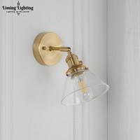 ingrosso bagno ha portato luci di vanità-Loft Decor Nordic Copper Glass Lampada da parete Vintage Bagno Luce a specchio Nordic Scale Luci Bagno Luce da parete a Led Vanity Light