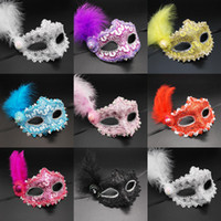 Wholesale metal lace mask resale online - 10 colors Feather Ball Princess Mask Child Beauty Inlay Rhinestone Cap Lace Flower Side Half Face Masquerade Mask