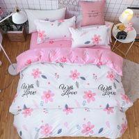 Wholesale purple flower bedding sets resale online - Pink Flower Girl Boy Kid Bed Cover Set Duvet Cover Adult Child Bed Sheets And Pillowcases Comforter Bedding Set TJ