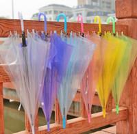 güneş şemsiyeleri düğün toptan satış-Yeni Düğün Favor Renkli Temizle PVC Şemsiye Uzun Sap Yağmur Güneş Şemsiyesi Şemsiye See Through