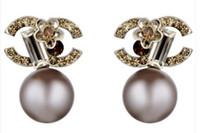 ingrosso disegni perla nera-orecchino di lusso orecchini in argento gioielli donne Orecchini pendenti Luxury diamond Pearl design Nero bianco Lettera moda originale