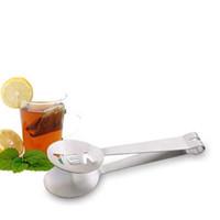 pince à thé clip achat en gros de-Sac réutilisable en acier inoxydable Thé tenailles Teabag squeezer Porte-Passoire Grip cuillère en métal Mini sucre clip Tea Leaf Passoire ZZA1779