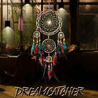 rüya avcısı ev dekorasyonu toptan satış-Güzel Tüy El Sanatları Dream Catcher Rüzgar Çanları El Yapımı Duvar Asılı Araba Ev Dekorasyon Hediyeler için Dreamcatcher Net