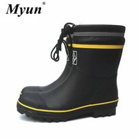 Wholesale blue plush fish for sale - Group buy Black Rubber Safety Fishing Boots Men Steel Toe Steel Sole Rain Boots Anti stabbing Gumboots and Anti smashing Galoshes