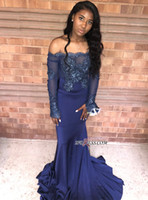 Wholesale african prom dresses resale online - 2019 New Off the Shoulder Dark Navy Lace Evening Dresses Long Sleeves Appliqued Mermaid Prom Dresses African Party Wear