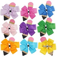 Wholesale handmade stitch for sale - Group buy Kids Bow Hair Clip Back To School Girl Handmade Thread Hair Accessories Color Stitching Pencil Floral Headdress