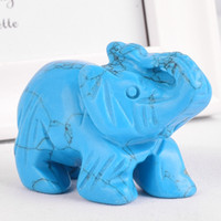 mini elefantes azuis venda por atacado-Gemstone Natural estatuetas azul howlite elefantes esculpidos artesanato mini-pedra animais e cristais estátuas para decoração da sala de crianças
