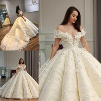 Wholesale simple wedding dresses for sale - Gorgeous Ball Gown Wedding Dresses Sexy Off The Shoulder Appliques Lace Plus Size Wedding Dress Count Train Lace Up Back Bridal Gowns