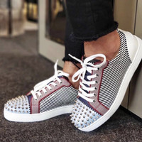 sneaker-designs groihandel-Männer Designs Schuhe Red Bottom seavaste sneaker flache version multi farben Wildleder spike Luxus Low Top frauen trainer Echtes Leder Party schuhe
