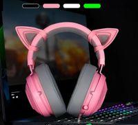 casque bluetooth universel rose achat en gros de-Pink Cat Ear Headphone Mobile Phone Mangez Poulet E-sport Jeu Femme Anchorlive Surveillance Musique