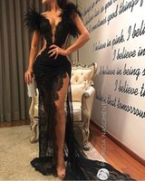 vestidos modernos de pena venda por atacado-Vestidos de baile de renda preta moderna Lang barato Sheer pena Sereia vestidos de noite capela trem Formal mulheres ocasião especial festa vestido de baile