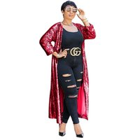 Wholesale club plus size clothing for sale - Women Two Piece Outfits Club Sleeve Dust Coat Women S Clothing Plus Size Cardigan Jacket with Sexy Sequins Long Oversized Trench Coat