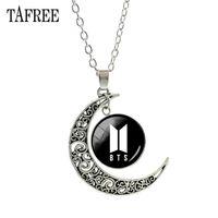 Wholesale TAFREE BTS Pendants Necklace Big Round Moon Best Lady Long Chain Necklace Pendant Choker Statement Girls Women Men Jewelry BTS47
