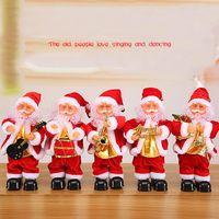 juguetes bailando santa al por mayor-Creative Christmas Electric Santa Claus Singing Dancing Saxophone Doll Toy Regalo de Año Nuevo para niños Toy Navidad Xmas Decor