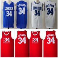 mavi kırmızı filmler toptan satış-Ucuz Erkekler İsa 34 İsa Shuttlesworth Forması Lincoln O Got Game Film Basketbol Örgü Formalar Mavi Beyaz Kırmızı 100% Dikişli Gömlek Iyi