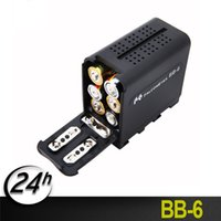 caja de batería aa al por mayor-BB-6 6pcs AA Batería sostenedor de la caja paquete de la batería de alimentación, como NP NP-F-970 Series Batería de vídeo LED luz del panel / monitor YN300