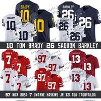 maillots de football américains achat en gros de-Wolverines 10 Michigan de la NCAA Tom Brady 26 Saquon Barkley Jr 97 maillot de football américain Nick Bosa