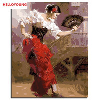 Wholesale pino oil paintings for sale - Group buy HELLOYOUNG DIY Handpainted Oil Painting Pino Dancing Digital Painting by numbers oil paintings chinese scroll paintings