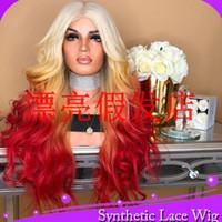 peluca rizada rubia roja al por mayor-MHAZEL 613 # Rubia / Amarillo / Rojo Larga 26 pulgadas Fibra sintética rizada del frente del cordón del cordón sintético para la mujer
