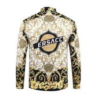 mischen sie hemdmänner großhandel-Erstklassige Qualität 2018 Herren 3D Blumen Tiger Print Mischfarbe Luxus lässig Harajuku Shirt Langarm Herren Medusa Shirt M-2XL