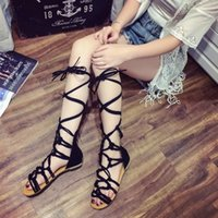 Wholesale roman open toed sandals for sale - Group buy Large size summer flat bottom sandals female cross straps roman style open toe sandals women casual shoes