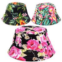 Wholesale big flower bucket resale online - Floral Bucket Hats For Women Big Children Sun Hats Print Outdoors Caps Summer Beach SunHat Girls Flower Bucket Hat styles RRA1704