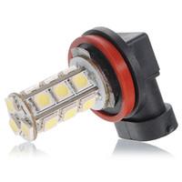 лучшие цены светодиодные лампы оптовых-2 шт. / Лот Лучшая Цена Белый H11 H8 18 LED 5050 SMD Автомобилей Авто Дневного Вождения Противотуманные Фары Лампы Лампы DC12V