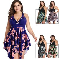 Wholesale wholesale plus size swimwear for sale - Big Size Swimsuit Split Skirt Digital Print Lady Swimsuit Plus Size One Pieces Swimwear Colors LJJS119