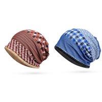 Wholesale fluffy caps resale online - Beanies Cap Scarf Women Men Casual Plaid Elastic Breathable Fluffy Hat Neck Warmer Autumn Winter Travel Headwear