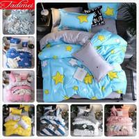 Wholesale blue ocean bedspread resale online - AB Side Kids Adult Bedding Set Soft Cotton Bed Linen Single Twin Full Queen King Size Bedspreads Duvet Cover Bedclothes