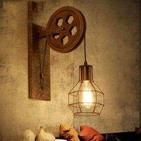 ingrosso sollevamento a puleggia-CE Loft lampada retrò puleggia di sollevamento creativa applique da parete sala da pranzo corridoio corridoio pub bar lampada da parete reggiseno applique da parete