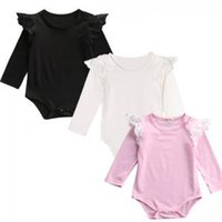 Wholesale baby children rompers resale online - Baby Solid Color Lace Rompers Flying Long Sleeves Infant Romper Children Princess Jumpsuits Newborn One Pieces Clothes TTA170