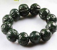 pulseira esculpida em jade venda por atacado-Homens e mulheres modelos rodada pulseiras de jade talão Natural Hetian jade Xinjiang safira escultura de nogueira pulseiras