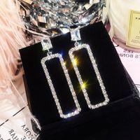 aretes brillantes coreanos al por mayor-Pendientes cuadrados geométricos coreanos mujer moda diamante completo brillante simple joker pendientes temperamento 925 pendientes largos de plata