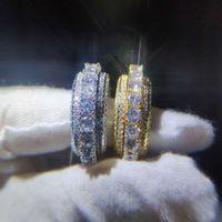 hip-hop-diamantringe großhandel-Voller Diamant Ring Hip Hop Schmuck Zirkon Iced Ringe Rold Silber Überzogene Für Liebhaber Modeschmuck Großhandel Set Diamant