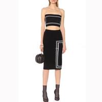 kadın tüpleri toptan satış-Kadın Elbise Takım Elbise Seksi Tüp Üst Dize + Diz Üzerinde Uzun Etek 2019 Yaz Yeni Mektup Örgü Iki parça Etek Suit